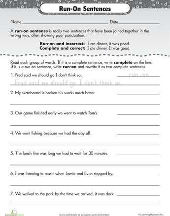 Worksheets: Work on Writing: Run-On Sentences