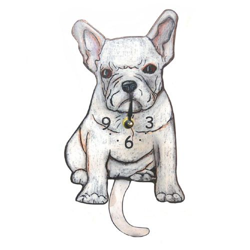 """Tail-Wagging Dog Clock : White French Bulldog. Cleverly designed and downright lovable! Made of lightweight wood, the French Bulldog's wagging pendulum tail always brings a smile. Wall clock measures 11.5"""" tall and runs on 1 """"AA"""" battery (not included). Artist-designed and crafted in Connecticut."""