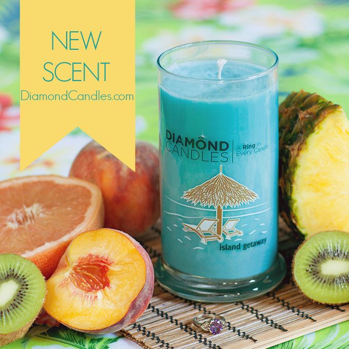 PIN NOW SHOP LATER - NEW Candle Scent: Island Getaway! this candle comes alive with the aroma of an exotic oasis. It's a blend of crisp green kiwi, crushed pineapple, and juicy peach blended with sugared sweet grapefruit and hint of coconut cream. Scent up your home!