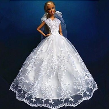 Barbie Doll Pure White Polyester Wedding Dress – USD $ 9.99