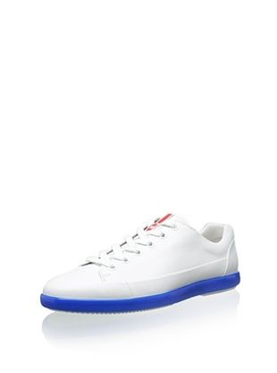 32% OFF Prada Men's Lowtop Sneaker with Bright Sole (White/Blue)