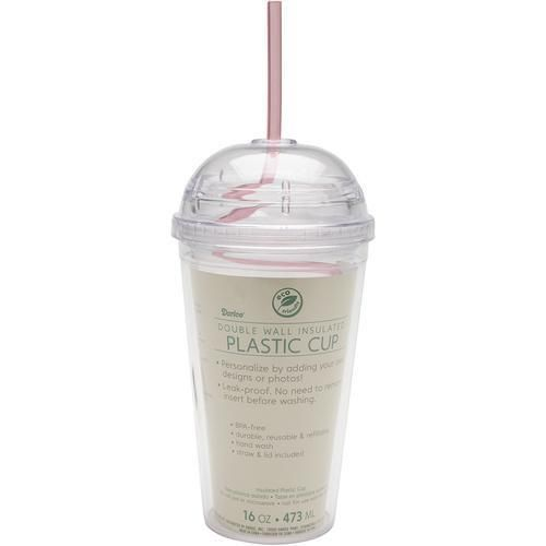 Darice 8601 83 Plastic Insulated Cup with Round Cap 16 Ounce Clear