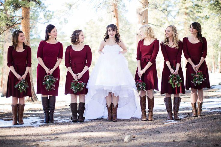 Colorado Wedding, Rustic Wedding, Winter WEdding, January Wedding, Red & Green Wedding, Pine cone bouquets, wedding shoes, wedding boots, bridesmaids