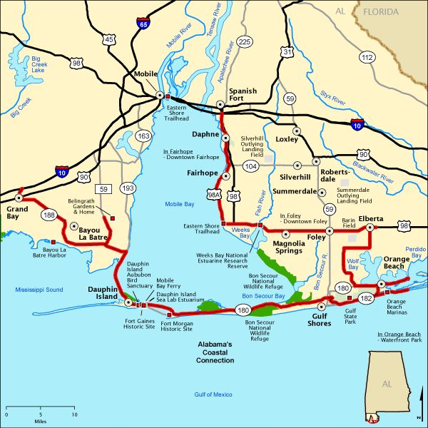 Alabama S Coastal Connection Map America S Byways