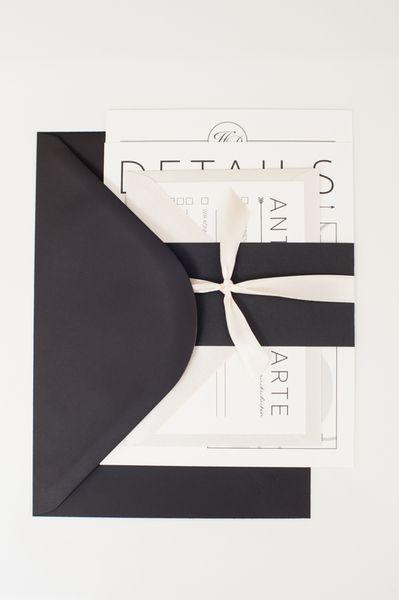 50x elegante Hochzeitseinladung in creme & schwarz von Schneiders ...