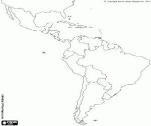 Omalovánka Latinská Amerika mapa