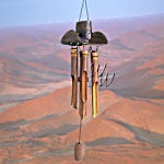 "Handcrafted 37"" Bamboo Wind Chime - Cowboy Hat"
