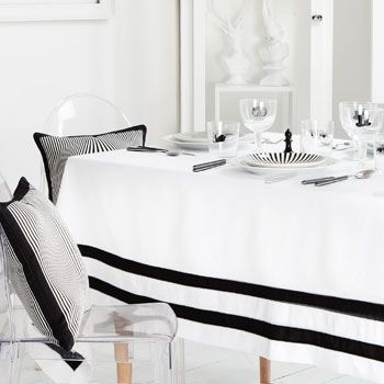 Tablecloths ,It's black and white.