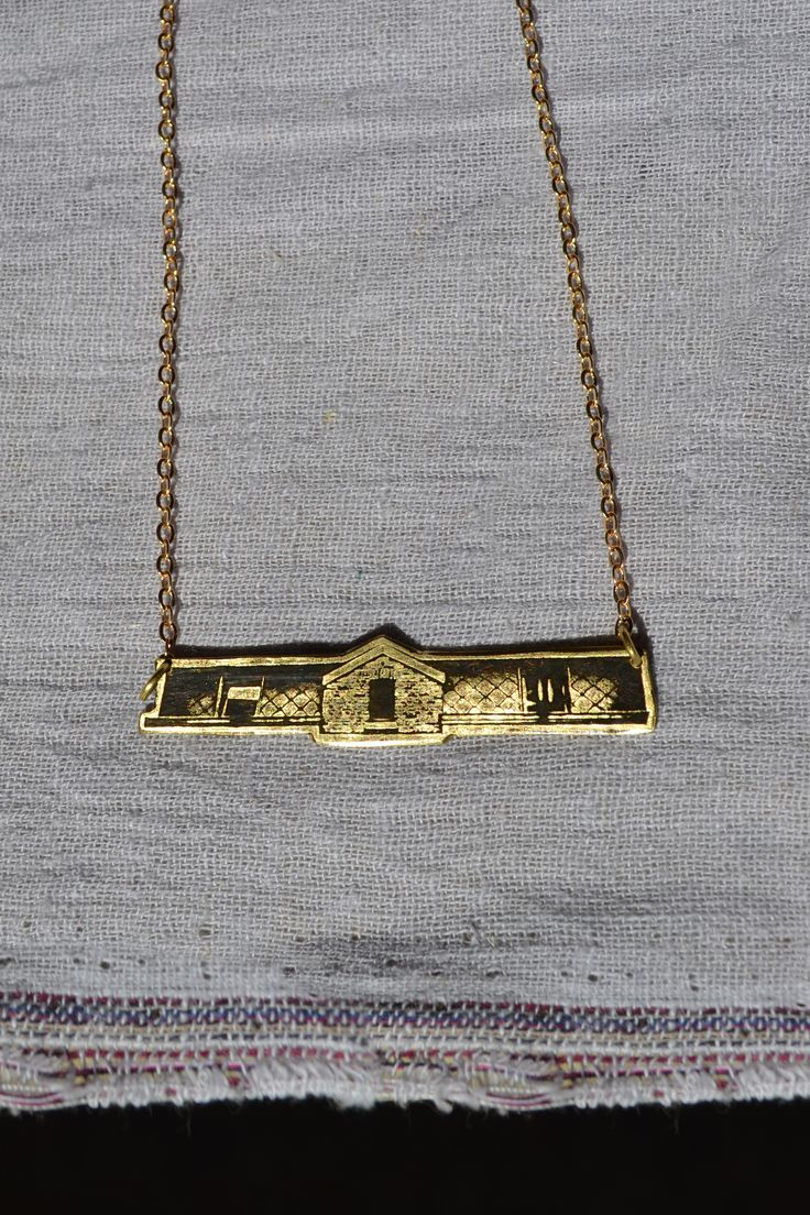 The Bar - necklace by EllaVi Jewellery. Handcrafted pendant from photographs of buildings in Europe. Brass