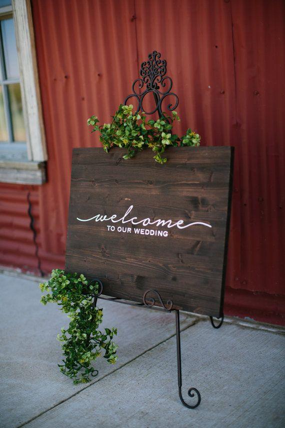 Wedding Welcome Sign, Reception Signage, Wood Wedding Sign, Rustic Wedding Decor