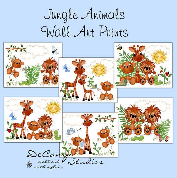 Jungle Animals 8x10 Wall Art Prints Decor for baby boy zoo nursery or children's safari room decor #decampstudios