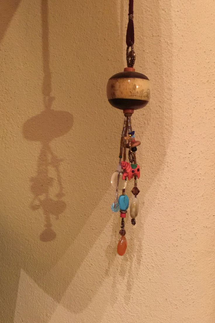 Pendant hanging made from bits and pieces from my treasure box.