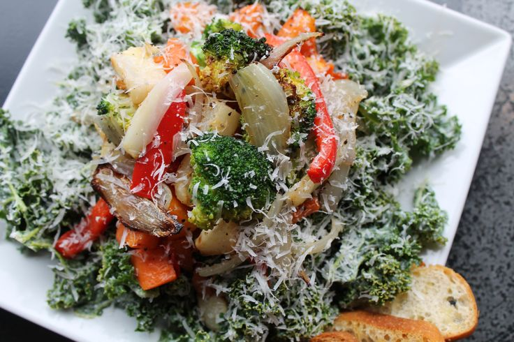 ... Broccoli, Carrots, Shallots, Red Peppers over Kale with Blue Cheese