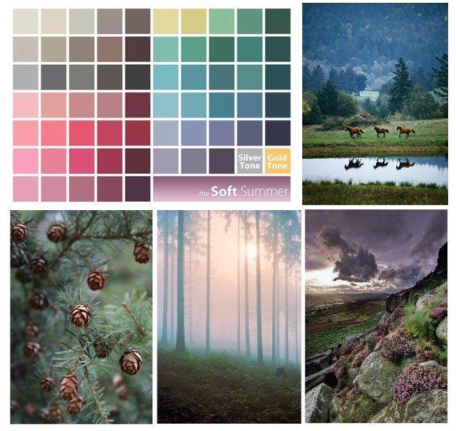 Мягкое лето — это сероватые прохладные цвета, напоминающие темную акварель, цвета в тумане, дымке. Ассоциируются с августовским лесом в сумерки.