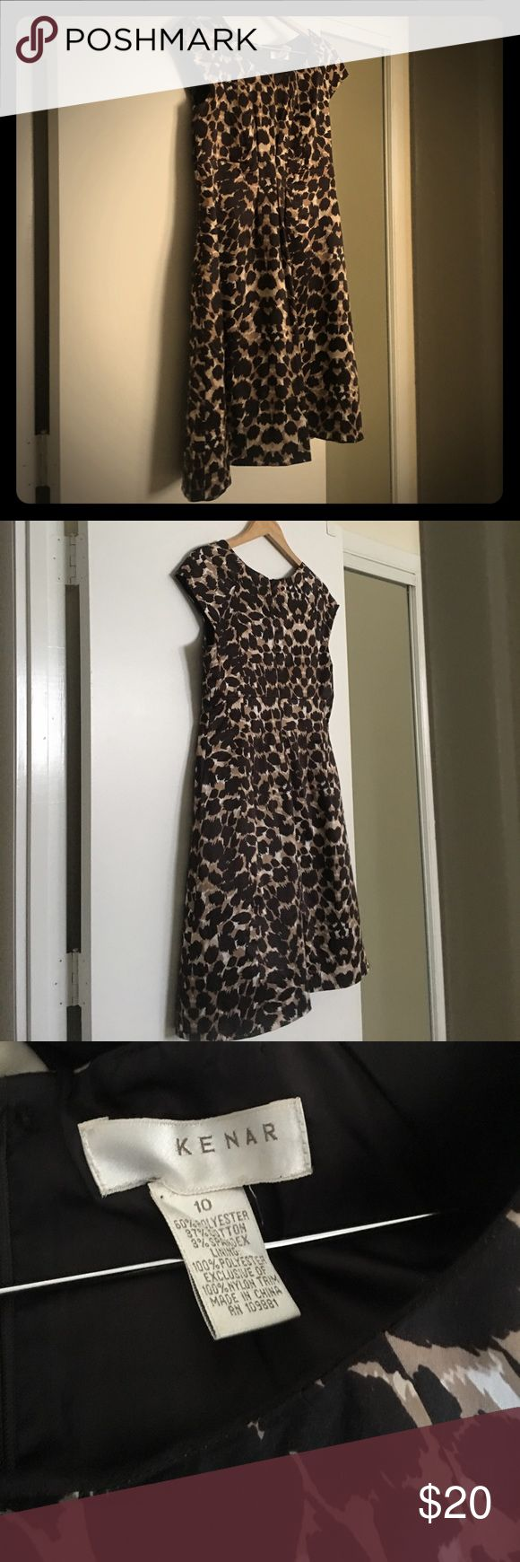 Leopard print cocktail dress with cap sleeves This a perfect party dress as an alternative to the LBD.  Light weight satin feel hugs your curves with a fit and flare look to add some swing to your step. Kenar Dresses Wedding
