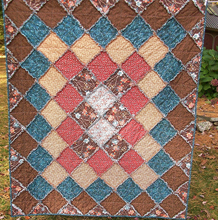Brick Red Rag Rug: Rag Rug Cotton Throw Lap Quilt In Earth Tones Of Brick Red