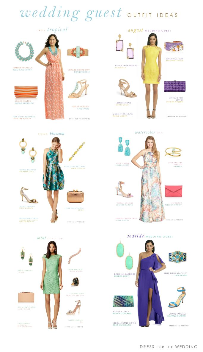 The go-to Guide for Wedding Guest Outfits for 2015 via @dressforwedding . 10 ideas for wedding guest outfits, plus links for hundreds of wedding guest dresses. If you're a guest of a wedding this 2015, you'll have plenty of choices for what to wear.