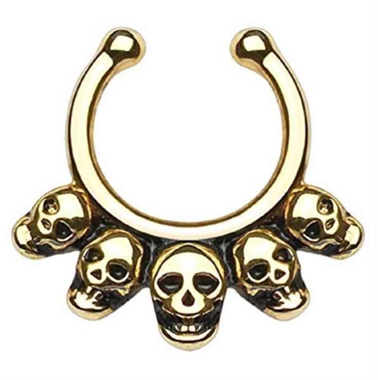 BodyJ4You® Five Linked Skulls Non-Piercing Fake Septum Hanger Clip On