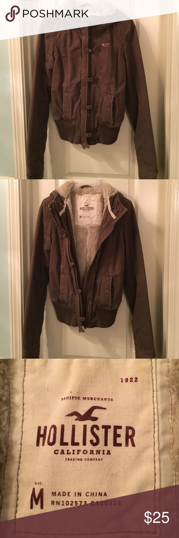 Hollister Brown Bomber Jacket Size M Hollister Brown Bomber Jacket Size M. Excellent used condition. Hollister jackets run small so this fits more like a small. Zipper works great and no stains or tears. All of the listings in my closet are from a smoke free home. I accept reasonable offers and offer a discount on bundles. Thank you for shopping my closet ❤ Hollister Jackets & Coats