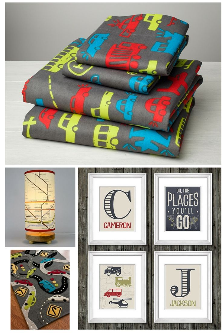 Transportation Sophistication!  These transportation themed products are adventurous enough to take your little boy from toddler to adolescent!  No changing  and updating the room every two years!  Great sophisticated designs that are sure to make both child and parent happy!  Oh, The Places You'll Go!   Sheets by Amadora Desinged Concepts, Prints by Custom Edge Studio, Lamp by Whimsy Home, and rug by NuLoom!