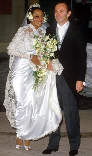 Diana Ross at her 1985 wedding to Arne Naess Jr, a wealthy Norwegian shipping businessman and Mountaineer