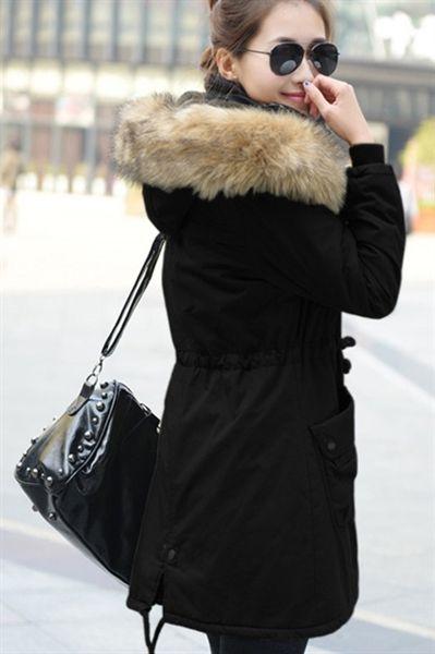 Damen Wintermantel mit Kapuze Jacke Frauen Parka Lang Winterjacke Damenmantel Schwarz