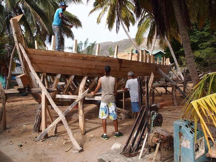 Carriacou. Boat building at Windward