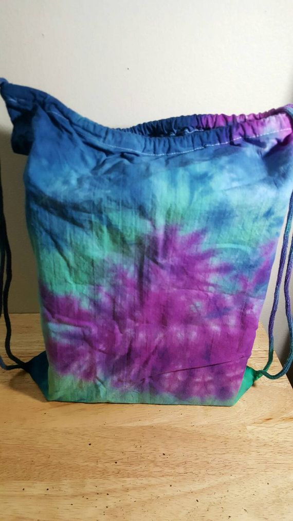 Tie Dye Festival Bag Drawstring Backpack by HippyNotHipster