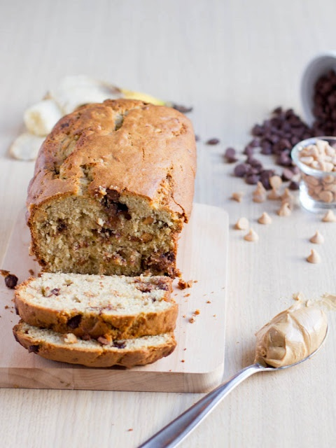 Soft Peanut Butter Banana Bread loaded with chocolate and peanut butter chips ohsweetbasil.com