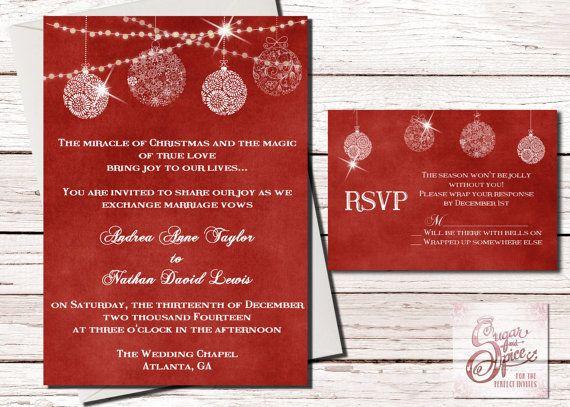 Christmas Wedding Invitation Holiday by SugarSpiceInvitation