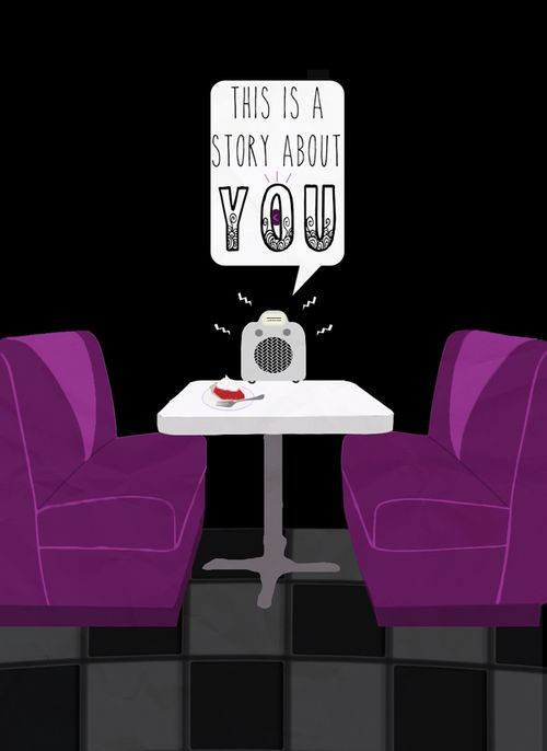 """nightvalessp: """"You order a slice of strawberry pie, and the waitress indicates through words and movements that it will be brought to you presently. The radio speaks soothingly to you from staticky speakers set into a foam-tile ceiling. It is telling a story about you! Your story, at last."""""""