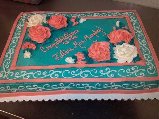 Teal, Aqua, Peach, Coral Bridal Shower cake, Alexis Snell Original