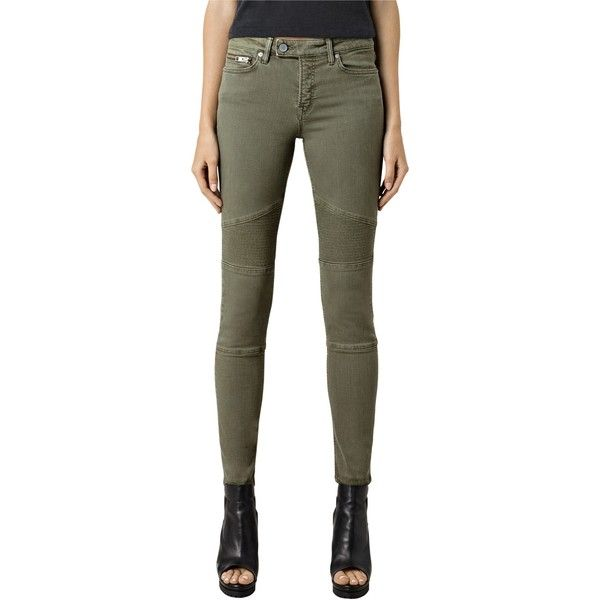 AllSaints Biker Skinny Jeans , Khaki Green found on Polyvore featuring polyvore, women's fashion, clothing, jeans, khaki green, skinny leg jeans, black skinny jeans, black biker jeans, biker jeans and black super skinny jeans