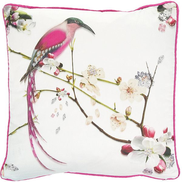 Ted Baker Flight of the Orient Cushion - 45x45cm (£28) ❤ liked on Polyvore featuring home, home decor, throw pillows, blue, asian inspired home decor, ted baker, blue accent pillows, bird home decor and asian home decor