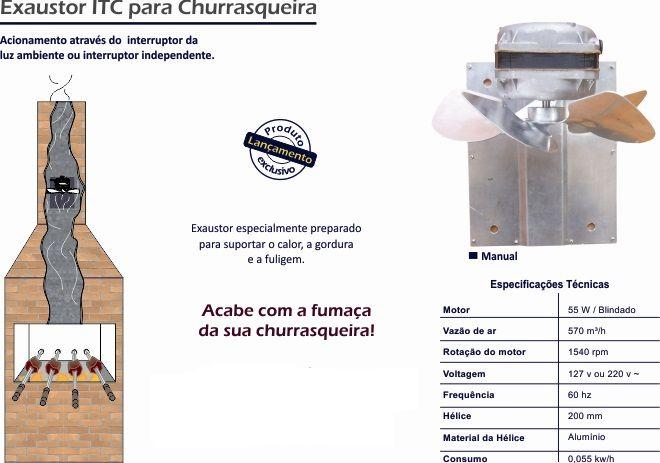 Exaustor Para Churrasqueira 127v Itc