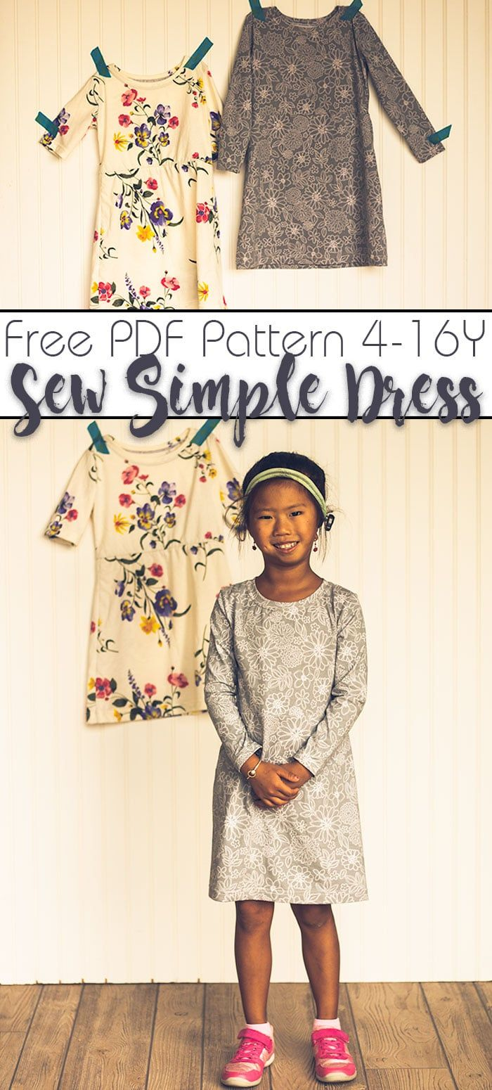 Free Dress Sewing Pattern Simple Knit Fabric Dress With Two Sleeve Options Do Dress Sewing Patterns Free Girls Dress Pattern Free Girls Dress Sewing Patterns