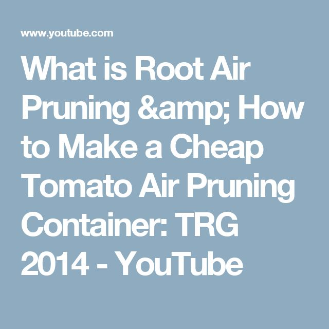 What is Root Air Pruning & How to Make a Cheap Tomato Air Pruning Container: TRG 2014 - YouTube