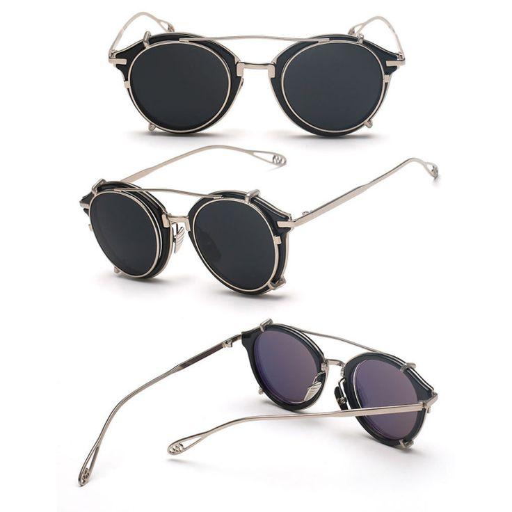 Unisex Clip En Gafas de Sol Mujeres de Los Hombres de Steampunk Gafas de Sol Retro Redondo Gafas De Sol Para Mujer Hombre Espejo Eyewear Fresco D1 en Gafas de sol de Ropa y Accesorios en AliExpress.com | Alibaba Group