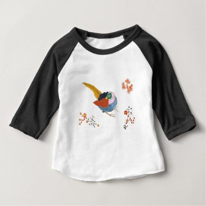 Fabulous large bird with Golden feathers. Japanese Baby T-Shirt - spring gifts beautiful diy spring time new year