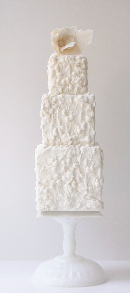 Tall and square wedding cake. Lovely detail work. Maggie Austin Cakes.