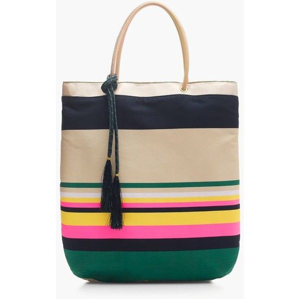 J.Crew Pop-Stripe Tote (£130) ❤ liked on Polyvore featuring bags, handbags, tote bags, j crew tote bag, stripe tote bag, print tote, tote purses and pattern tote