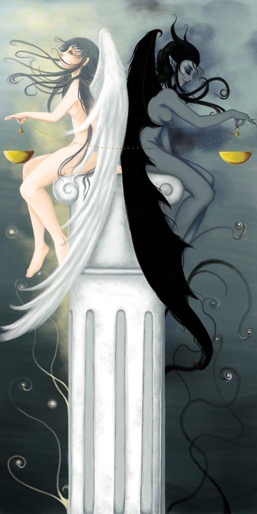 gemini art dual-two sides good and bad angel devil