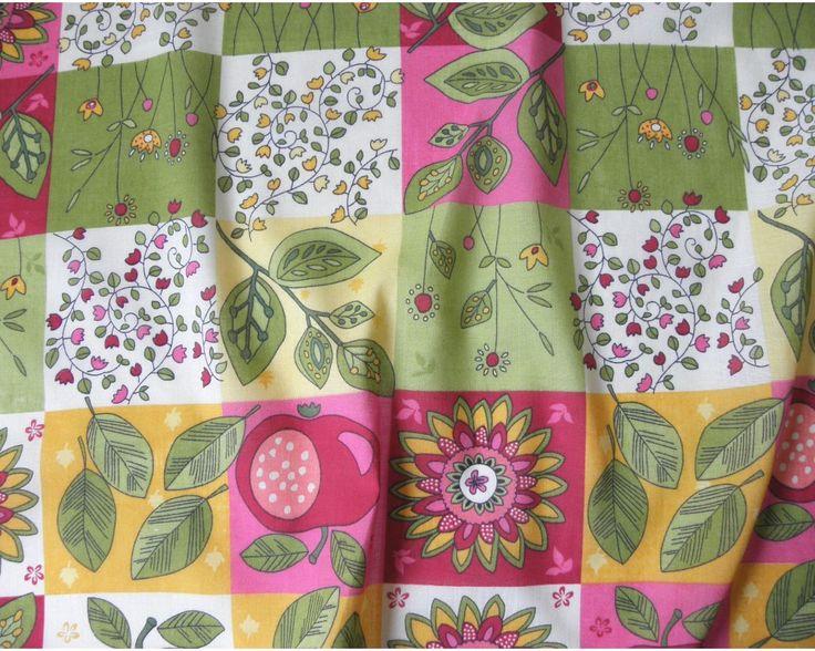 Summer, patchwork virágmintás, almás kevertszálas vászon