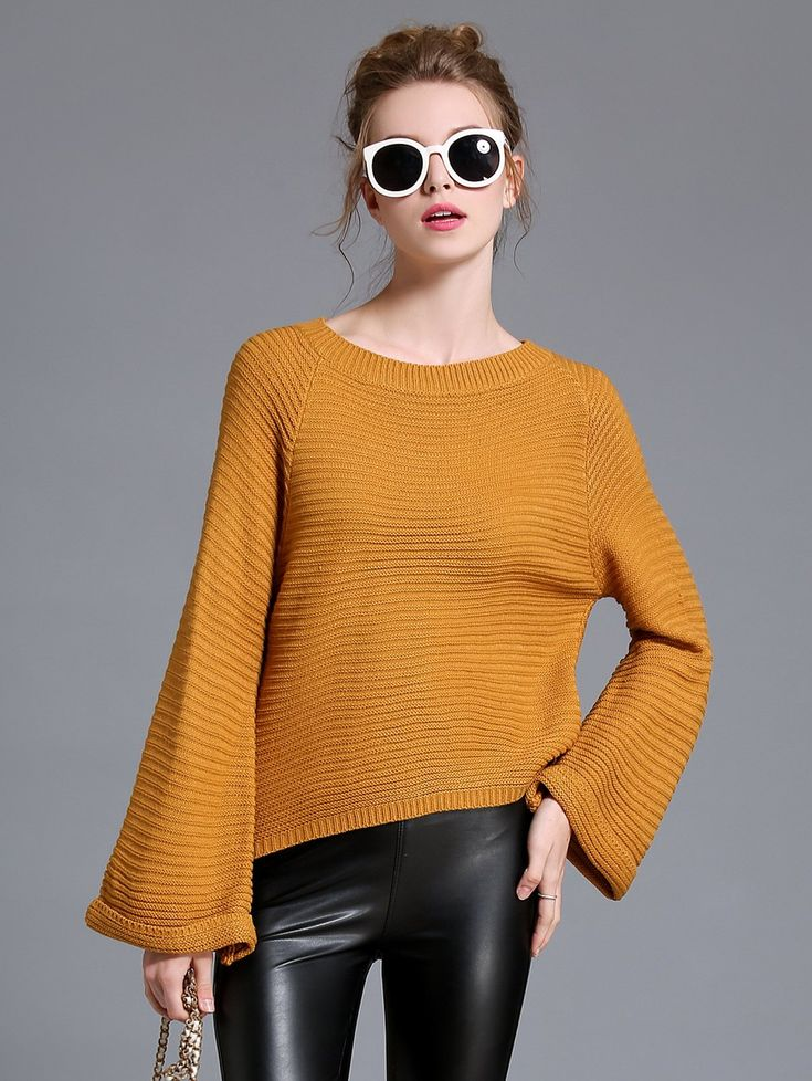 High Low Flare Sleeve Sweater