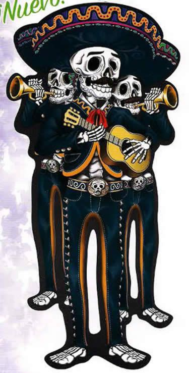 Lifesize poster of 3 smiling skeleton mariachis in full dress with sketeton belt buckles & big sombreros.