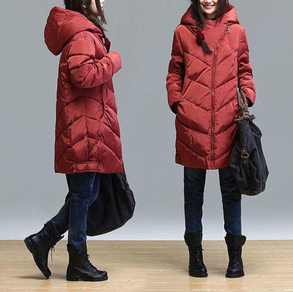 Maroon hooded zipper long winter padded / casual by dreamyil, $226.00