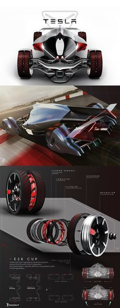 The 'Tesla T1' is a concept envisioned for the year 2030 which explores the future of energy efficiency in the most extreme racing scenario's, the electric competitor is structurally defined by aerodynamics but it's the innovative wheels that steal the show... READ MORE at Yanko Design !