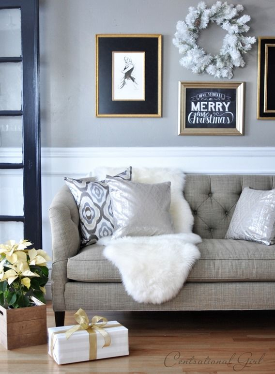 tufted sofa sheepskin rug poinsettia in crate via Centsational Girl: