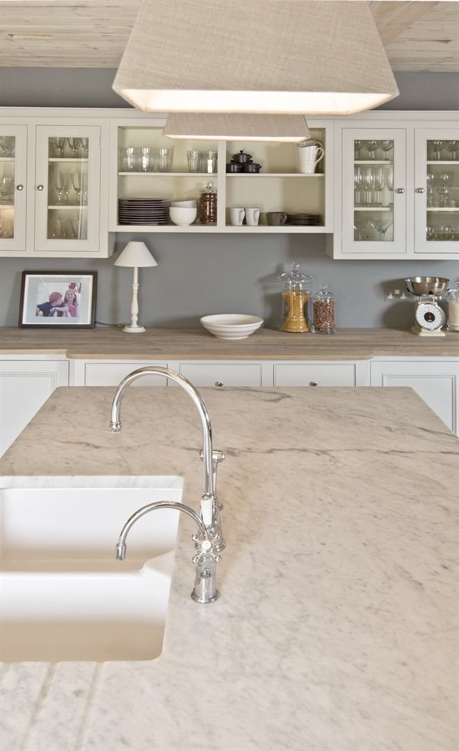 Grey walls - white cabinets - off white counter tops - Neptune Ceramic Double Bowl Sink