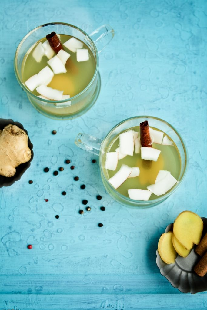 Ginger tea with coconut.